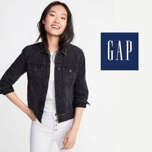 GAP Washed Paris Black Denim Jean Jacket, S
